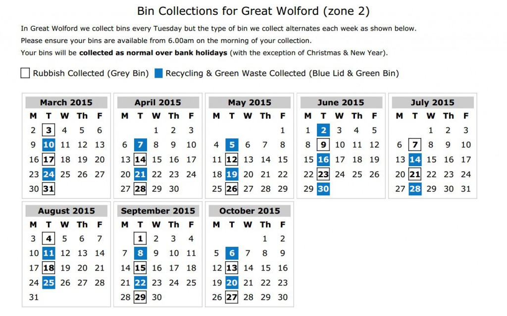 Refuse & Recycling colelctions 2015